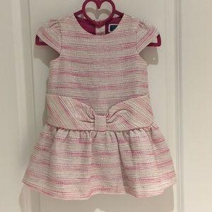 💗 Janie & Jack Boucle drop waist dress pink tweed
